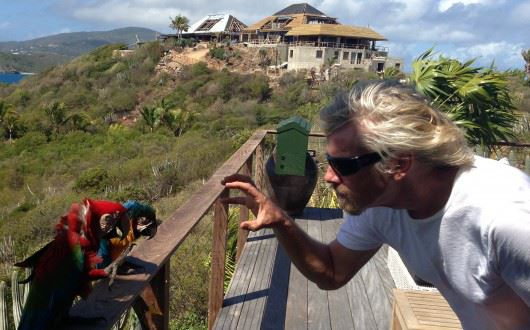 Richard Branson with Macaw