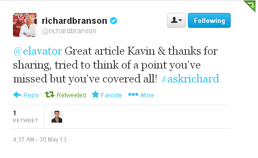 Richard Branson Tweet Complementing Kavin Paulson, Digital Marketer