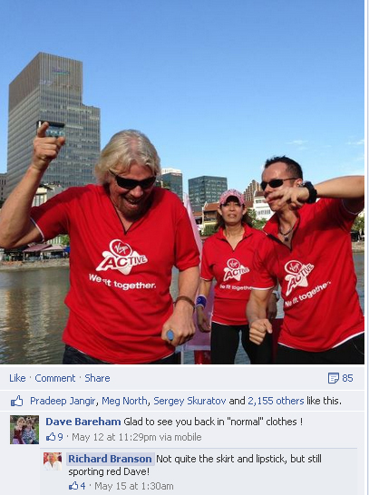 Richard Branson at the Launch of Virgin Active, Singapore